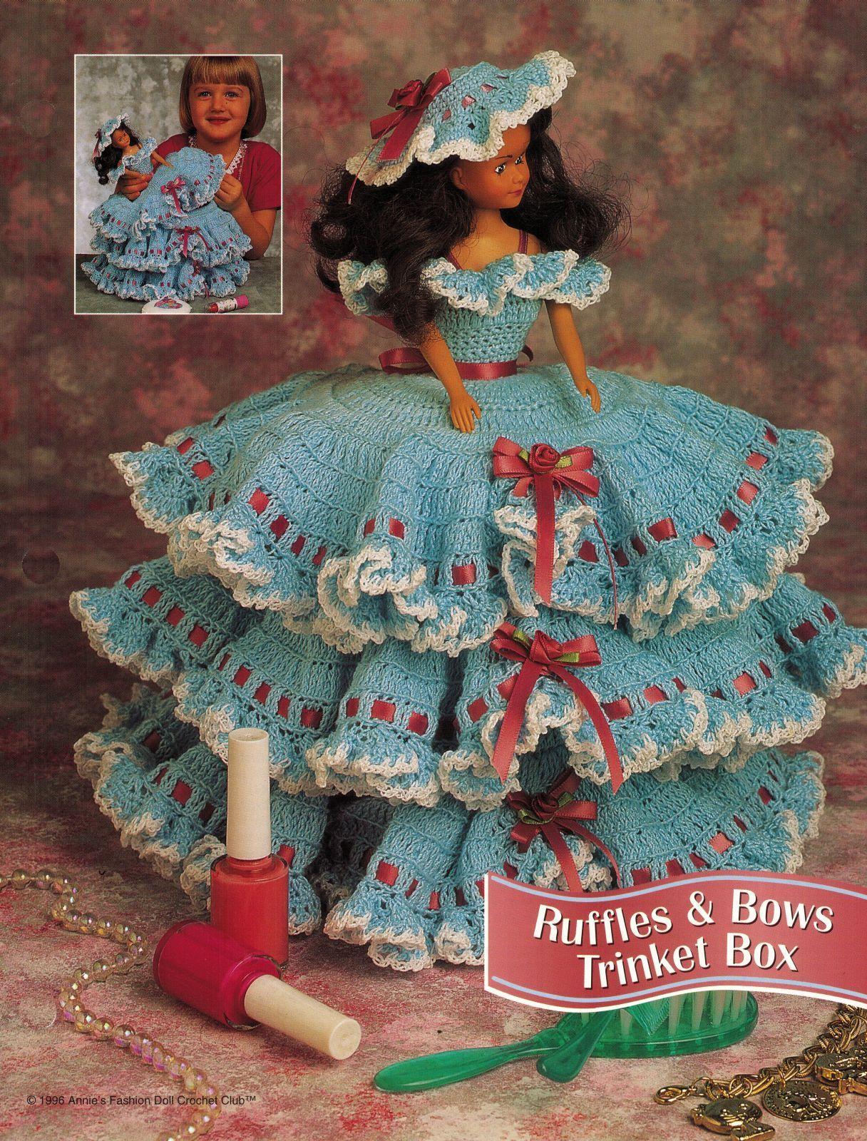 "3X Barbie 11-1/2"" Doll Angel Frills & Ruffles & Bows Trinket Box Crochet Pattern image 3"