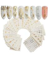 Beauty 30Pcs Gold Silver Nail Water Sticker Feather Flower Spider Design... - $3.67