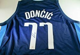 LUKA DONCIC / AUTHOGRAPHED DALLAS MAVERICKS BLUE CUSTOM BASKETBALL JERSEY / COA image 1