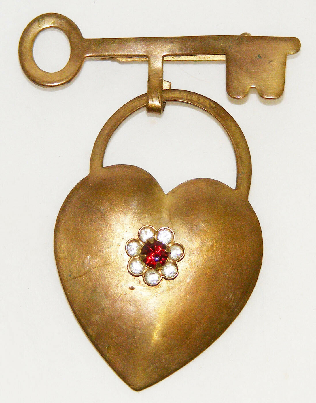 Primary image for Vintage Gold Tone Heart & Key Brooch