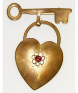 Vintage Gold Tone Heart & Key Brooch - $10.00