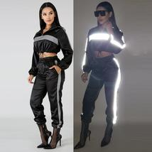 Reflective Two Piece Set Drawstring Crop Top and Pants Hip Hop Club Festival Out image 3