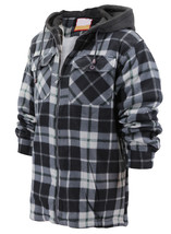Men's Heavyweight Flannel Zip Up Fleece Lined Sherpa Hoodie Jacket w/ Defect - L image 2
