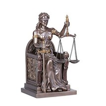 Pacific Giftware Seated Cold Cast Bronze Lady Justice Statue Home Decor - $69.29