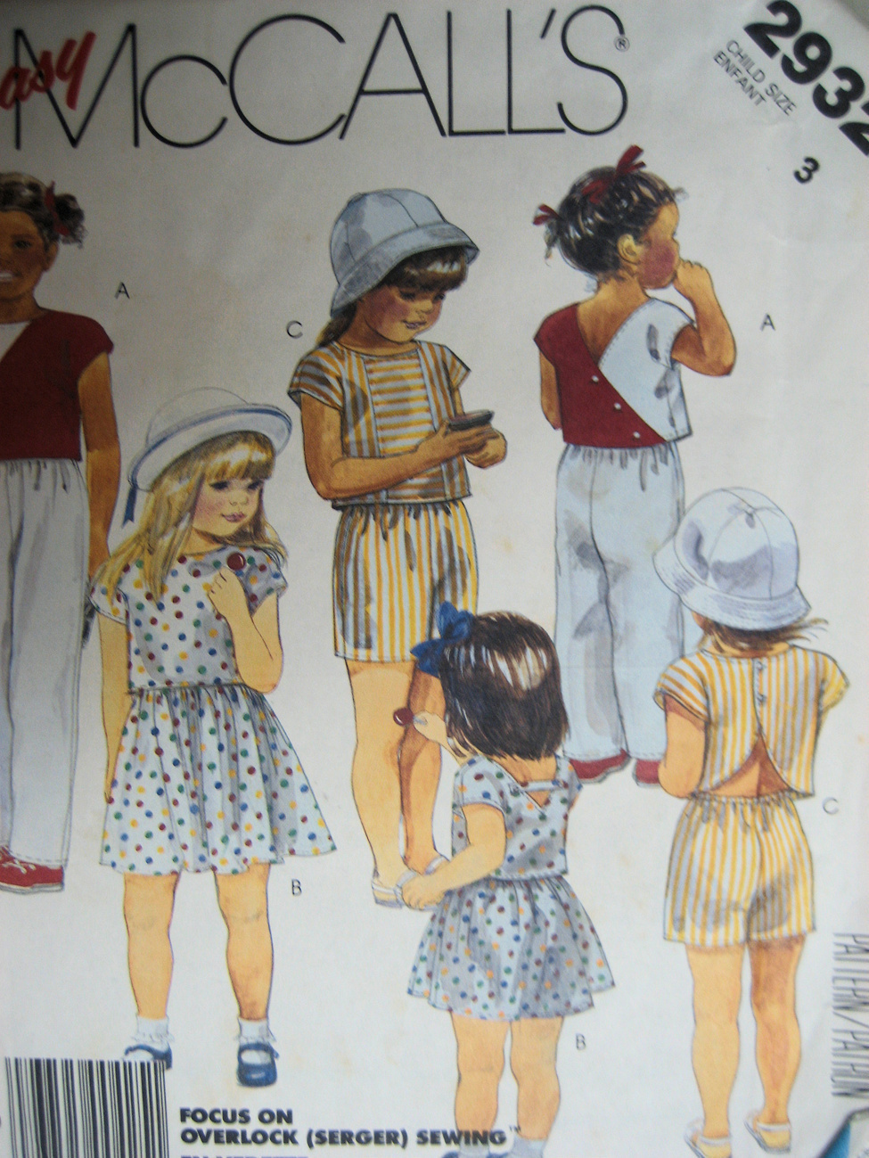 Primary image for McCallls 293 New Sewing Pattern Child Size 3 Shorts Top Skir