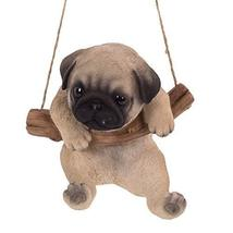 Pacific Giftware Realistic Pug Puppy Hanging from Branch Rope Hanger Statue - $24.74