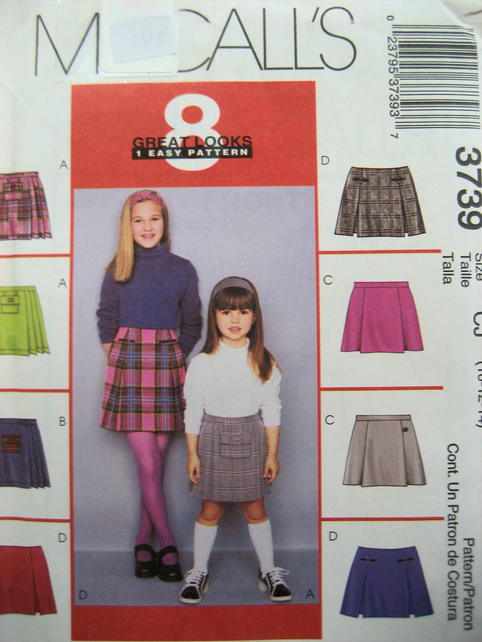 Primary image for McCallls 3739 New sewing Pattern for Skirt Child Size 10 to 14