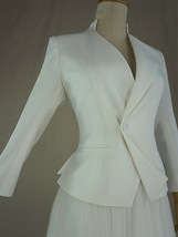 Women's White Suit Jacket White Asymmetrical Collar Boho Wedding Bridal Outfits image 4