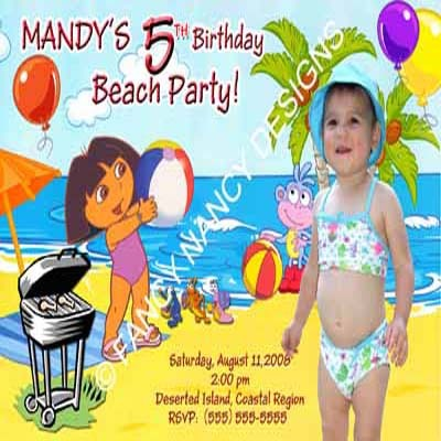 Dora The Explorer Go Diego Go Present Girls Photo Birthday Party Invitations