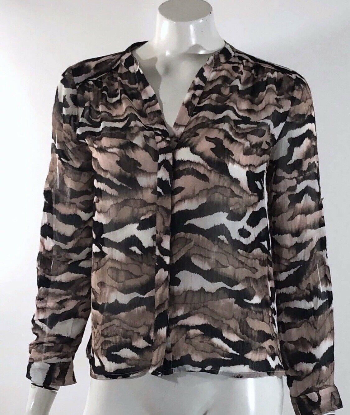 Jennifer Lopez Womens Top Size XS Brown Pink Blouse Sheer Open Back Blouse - $4.91