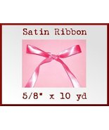 Hot Pink Satin Single Face Polyester Ribbon 5/8... - $2.75