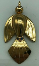 Vintage Coro Pegasus Bird Pin Brooch Book Piece Gold Tone Rhinestone - $35.72