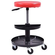 Adjustable Mechanics Creeper Seat Rolling Stool Pneumatic Chair Tray Pad... - $57.82