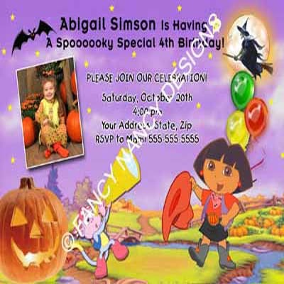Dora The Explorer Go Diego Go Girly Pink Cake Photo Birthday Party Invitations