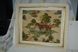 Vtg Mid Century 3D Raised Fabric Relief Equestrian Horse Art Picture Framed - $69.19