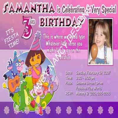 Dora The Explorer Go Diego Go Purple Girl Boy Photo Birthday Party Invitations