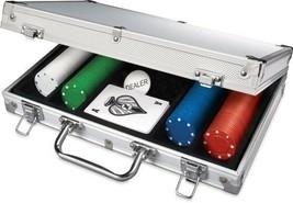 200pc Poker Set In Aluminum Case Dual-toned Poker Chips Take Anywhere Se... - $39.19
