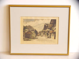 Signed Ernst Geissendorfer, Original Colored Etching on Silk - $30.99