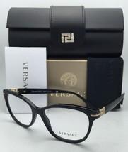 New VERSACE Classic Eyeglasses VE 3205-B GB1 52-16 Black & Gold Frame w/Crystals