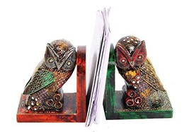 Purpledip Wooden Bookends 'Night Watch': Hand-Painted Owls 10300 - $63.44