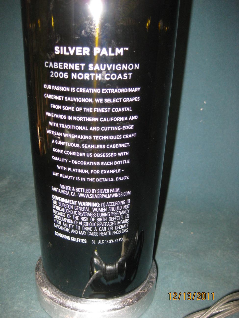 2006 Silver Palm Cabernet bottle lamp