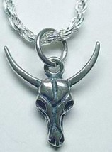 LOOK New Skull Ram Skeleton head horn Pendant Charm Sterling Silver 925 ... - $16.96