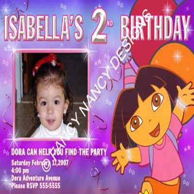 Dora The Explorer Go Diego Go Musical Photo Girl Birthday Party Invitations