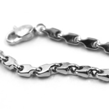 """18K WHITE GOLD CHAIN NECKLACE ALTERNATE DROP ONDULATE TWO SIDES TUBE LINKS, 20"""" image 2"""