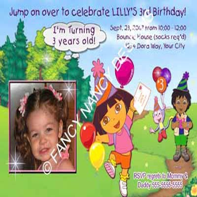 Dora The Explorer Go Diego Go Boots Benny & The Gang Birthday Party Invitations