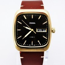 New Fossil FS5332 Rutherford Rectangle Dial Brown Hard Leather Strap Men... - $106.92