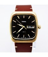 New Fossil FS5332 Rutherford Rectangle Dial Brown Hard Leather Strap Men... - $141.03 CAD