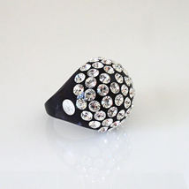 Luna Bianca By Pinky Black Acrylic Domed Ring Clear Swarovski Crystals On Dome image 3