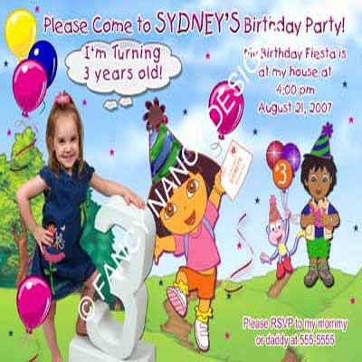 Primary image for Dora The Explorer Go Diego Go 2nd 3rd 4th 5th 6th 7th Birthday Party Invitations