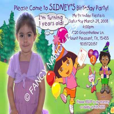 Dora The Explorer Go Diego Park Picnic Outdoor Girls Birthday Party Invitations