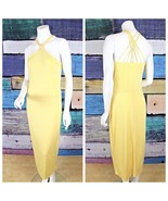 New Cache Medium M Pale Yellow Strappy Criss Cross Stretch Jersey Maxi D... - $89.09