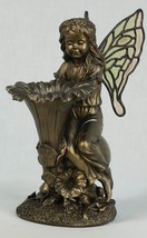 "11"" Garden Fairy with Fluted Flower Birdfeeder Bronzed Look"