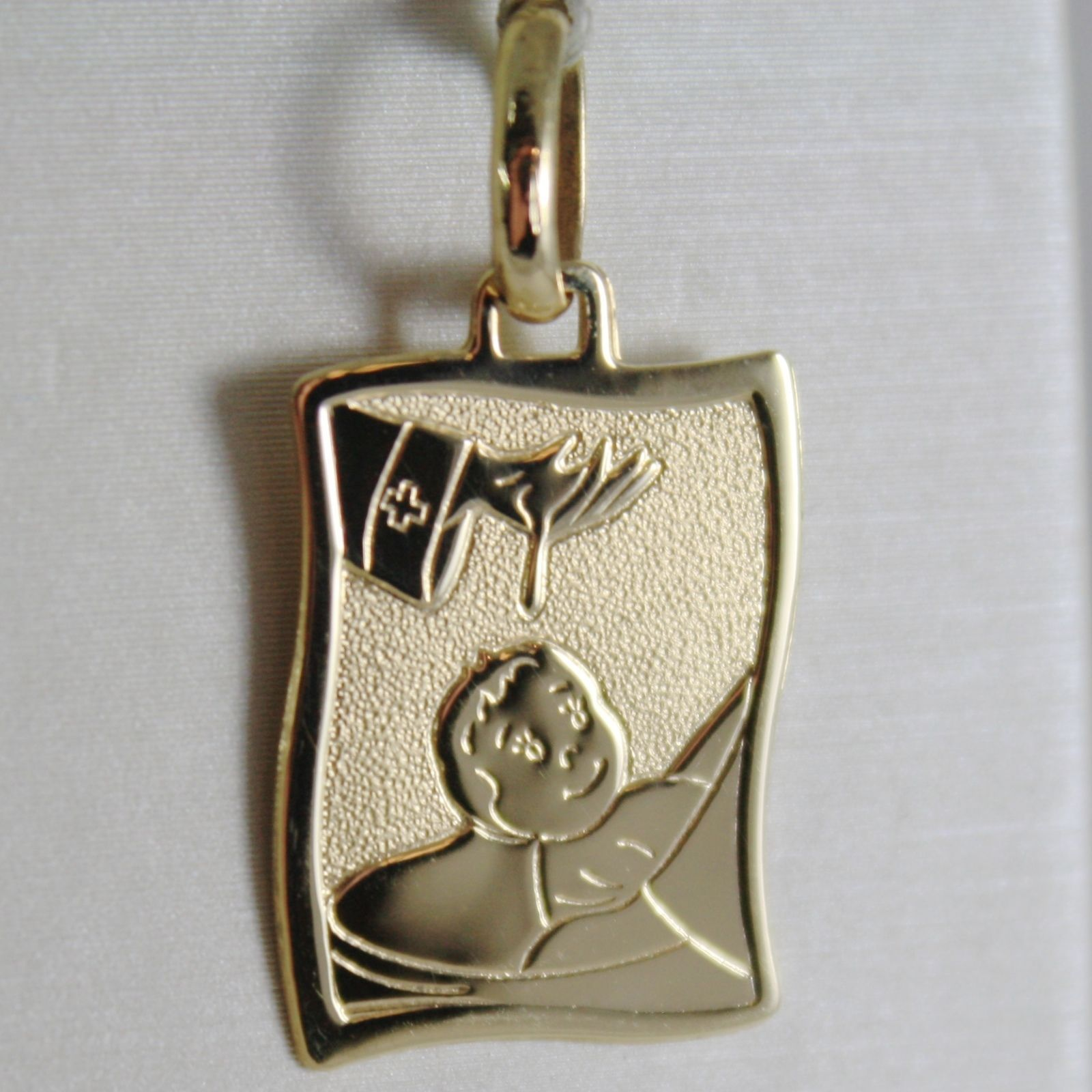 18K YELLOW GOLD SQUARE MEDAL REMEMBRANCE OF BAPTISM ENGRAVABLE MADE IN ITALY