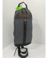 Coach Backpack Sling Bag Varick Gray Brown Nylon Leather  F70692 B2Y - $107.79