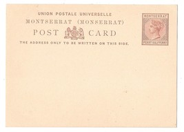 Montserrat Postal Stationery Card 1879 QV 1 1/2 Penny Halfpenny Unused HG 1 - $6.69