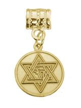 New Star of David Jewish Chai Genuine 24K Gold plated Bead Charm Jewelry New - $24.10