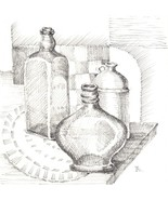 "Akimova: STILL LIFE, ink, black&white, food, bottles, 6""x6"" - $27.00"