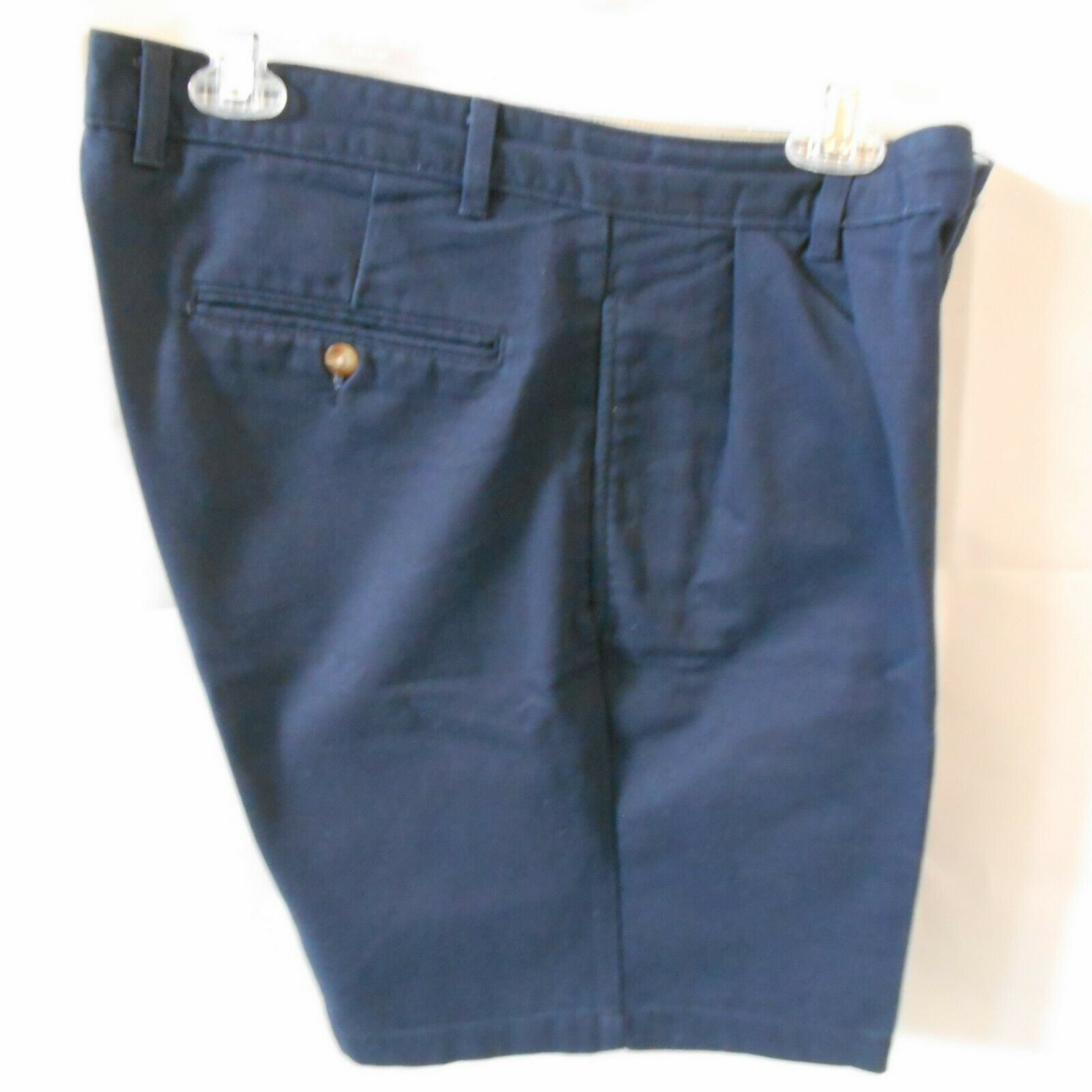Roundtree and York Mens Shorts size 34 Navy Blue Cotton Pleated Front  image 7