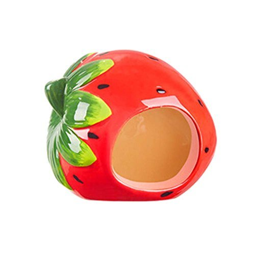 Primary image for Panda Legends Cute Strawwberry Ceramic Hamster Hideout Hut Cave Small Animals Su