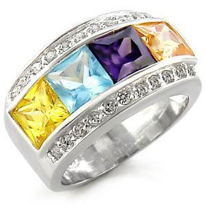 Sterling Silver 925  Multi Color CZ Band Ring, Free Shipping, Size  6,9,10