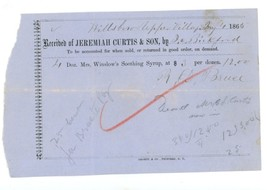 Mrs. Winslow's Syrup Curtis 1865 invoice Hillsboro Upper Village NH pate... - $22.00