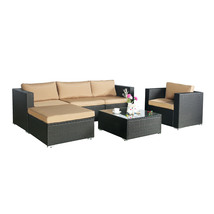 Outdoor 6 PC Rattan Wicker Patio Furniture Set Garden Sectional Sofa Set... - $629.99