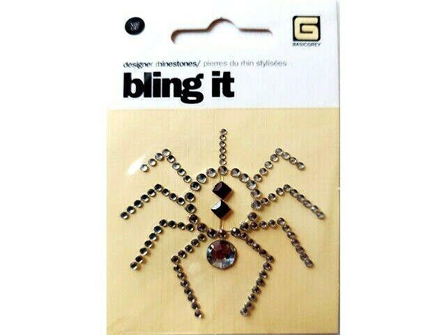 BasicGrey Bling It Rhinestone Spider Sticker, Great for Halloween!