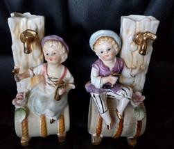 Vintage Porcelain Victorian boy girl Figurine Set Japan - $14.84