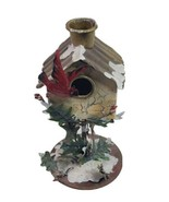 Winter Birdhouse Taper Candle Holder 7 inch Tall Cardinal Metal Art - $29.39