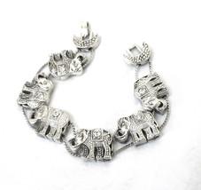 Elephant Slide Bracelet, Signed, Clear Rhinestones, Antiqued Silver, 198... - $18.50